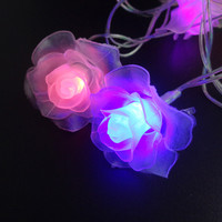LED String Lighting nightlight 4M 20Leds Rose Flower EU Plug / Battery box Indoor Outdoor Party Wedding Christmas Fairy Decor JM