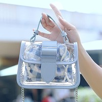 2020 new product women's transparent mini jelly buns two-piece package