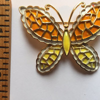 "Vintage Costume Jewelry ""JJ"" Butterfly Brooch Yellow Orange Gold Toned Pin"