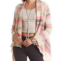 Striped Cropped Cascade Cardigan Sweater - Ivory Combo