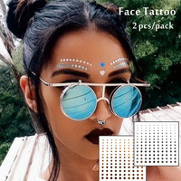 #F09    2 pcs/ Set Face Decor Tattoos, Non-toxic And Waterproof Round Dots  Glitter Makeup in Coachella Valley Music Festival