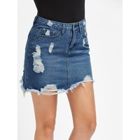 Distressed Denim Bodycon Skirt