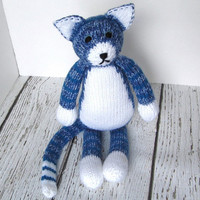 """Big Hand Knitted Blue Tabby Cat - Ready To Ship - Child Toy - Stuffed Animal Soft Toy - Baby Gift Stuffed Cat - Cat Nursery 16 1/2"""" Tall"""