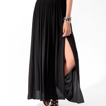 Front Slit Maxi Skirt w/ Belt