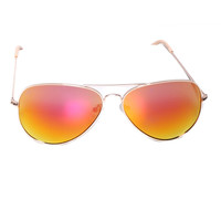 Aviator Reflector Sunglasses In Pink/Orange