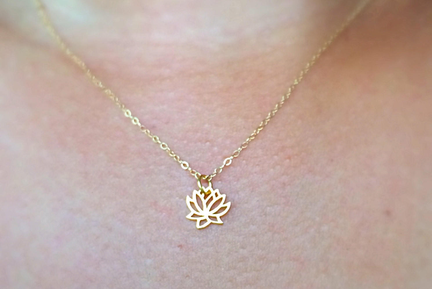 Image of Gold Lotus Simple Necklace / Charm Necklace / Chokers / Layering Necklace / Stacking Necklace