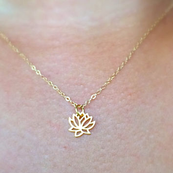 Gold Lotus Simple Necklace / Charm Necklace / Chokers / Layering Necklace / Stacking Necklace