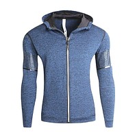 Men Thick Cotton Solid Color Long Sleeves Slim Fit Sport Warm Zipper Hoodie