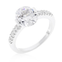 Clear Oval Cubic Zirconia Engagement Ring, size : 05
