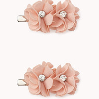 Floral Rhinestoned Hair Clips