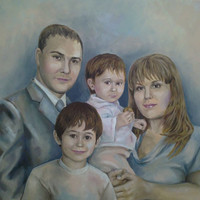 Family Painting Portrait - Custom Fine Art Oil Portraits on Canvas, anniversary - Hand Painted Home Decor