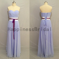 Sweetheart chiffon dress with sash,fashion prom dresses,hot sales dresses,long bridesmaid dress,chiffon prom dress,formal evening dress 2014