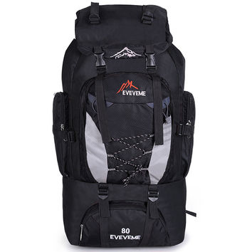 80L Outdoor Large Capacity Mountaineering Bag Nylon Men's Package Hiking Camping Backpacks Women's Traveling Bags