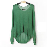 A 072216 Perspective irregular hollow bat sleeve knit shirt long sleev