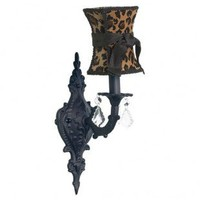 Jubilee Collection Wall Lighting  Wall Sconce with Leopard Hourglass Shade in Black - 820007_2718_304 - Wall Lighting - Lighting