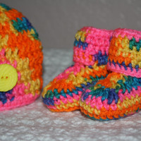 Tie Die Baby Hat and Booties Set- Baby Shower Gift,