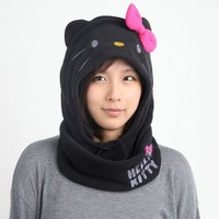 Hello Kitty Fleece Hood: Bold Black