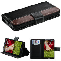 Book-Style Premium Leather Flip Cover for LG G2 - Black/Dark Brown