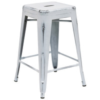 Flash Furniture Distressed White Metal Stool [ET-BT3503-24-WH-GG]