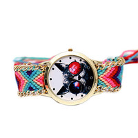 Womens Weave Casual Sports Cat Watches Girls Unique Handmade Knitting Strap Wrist Watch