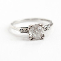 Vintage Art Deco Sterling Silver Simulated Diamond Ring- 1940s Size 9 1/2 Clear Glass Rhinestone Engagement Old European Style Jewelry