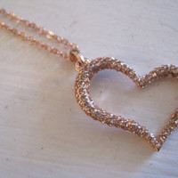 Rose Gold Heart Necklace -Rose Gold Rhinestone Heart Necklace - Gift Jewelry - Valentine's Day - Rose Gold Necklace
