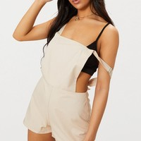 Stone Poplin Dungaree Playsuit
