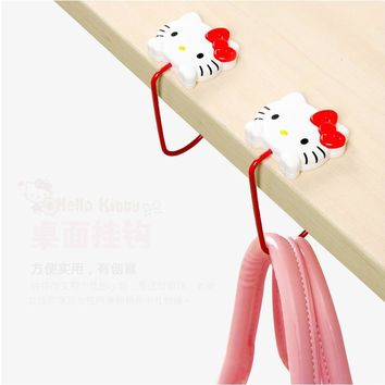 General Multi Function Portable Desktop Hook Hello Kitty Home Office Kitchen Organizer Shopping Bag Pothook