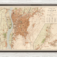 Old Map of Cairo Egypt 1920 - VINTAGE MAPS AND PRINTS