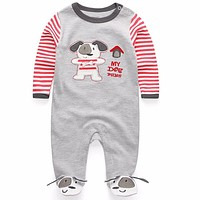 New 2017 cute baby rompers jumpsuit comfortable clothing for new born babies 0-9 m baby wear , newborn baby clothing