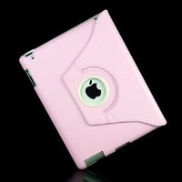 Ctech 360 Degrees Rotating Stand Pink Leather Smart Cover Case for iPad 2 w/ Wake Up/Sleep Feature (retail box packaging)