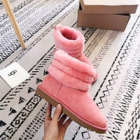 UGG New Fashion Keep Warm Classic Mini Fluff Quilted Boot Shoes Pink