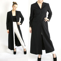 Vintage 90's Black Maxi Long Duster Jacket Coat - Medium to Large
