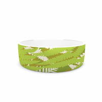 "Jacqueline Milton ""Fun Fern - Green"" Green Floral Pet Bowl"