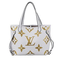 LV NEVERFULL 2019 new women's classic old flower shoulder bag handbag Messenger bag white