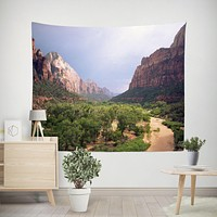 Scenic Zion Valley Microfiber Wall Tapestry, Wanderlust Decor