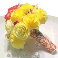 Red and yellow bouquet, Disney's Beauty and the Beast inspired bouquet, Rose and Peonies using coffee filter paper, lace and dried flowers