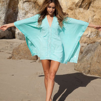 Mint Green Crochet Trim Caftan Poncho Beach Cover Up