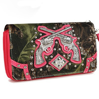 * Western Cowgirl Camouflage Gun Accented Double Zipper Stud Wallet In Fuchsia