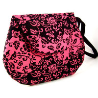 Pink and Black Flower Mini Clutch - Small Clutch