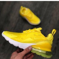 Nike Air Max 270 Tide brand men's and women's air cushion casual sports shoes Yellow