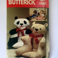 Butterick 4951 Craft Sewing Pattern Armchair Animals Child Stuffed Chair Bears Vintage Uncut