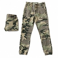 Camo Jogger Pants with Zipper Accent