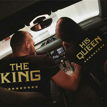 The King And His Queen Couples Shirts Matching The King & His Queen Couple Shirts Best Gift 100% Cotton