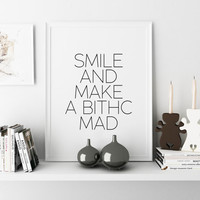 Motivational Quote Typographic Print Bitches Inspirational Quote Motivational quote Wall artwork Teen gift Word Sign Inspirational art
