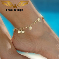 Ankle Bracelet Foot Leg Chain With fashion Cute Simple Butterfly Dragonfly anklets Jewelry For Female Best Friend Gifts B2.2-2.7