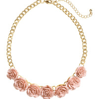 H&M - Short Necklace with Roses - Pink/gold - Ladies