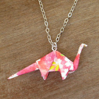 Pink Dinosaur Necklace, Origami Necklace, Dino Necklace, Brontosaurus Necklace, Geeky Jewelry, Origami Jewelry, Nerdy Necklace, Cute Fun