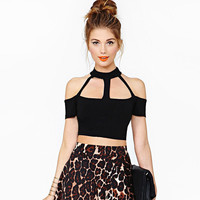 Black  Cutout Off-Shoulder Strappy Mesh Back Crop Top