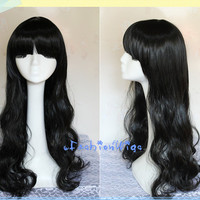 70CM Long curly RWBY Blake Belladonna Black Cosplay Wig/ Daily Wig, Costume Wigs for Party UF022